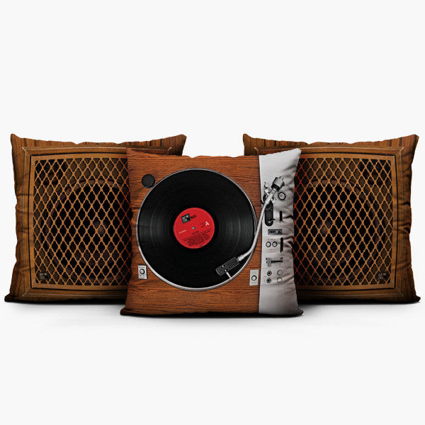 Turntable Wood Set - Throw Pillow
