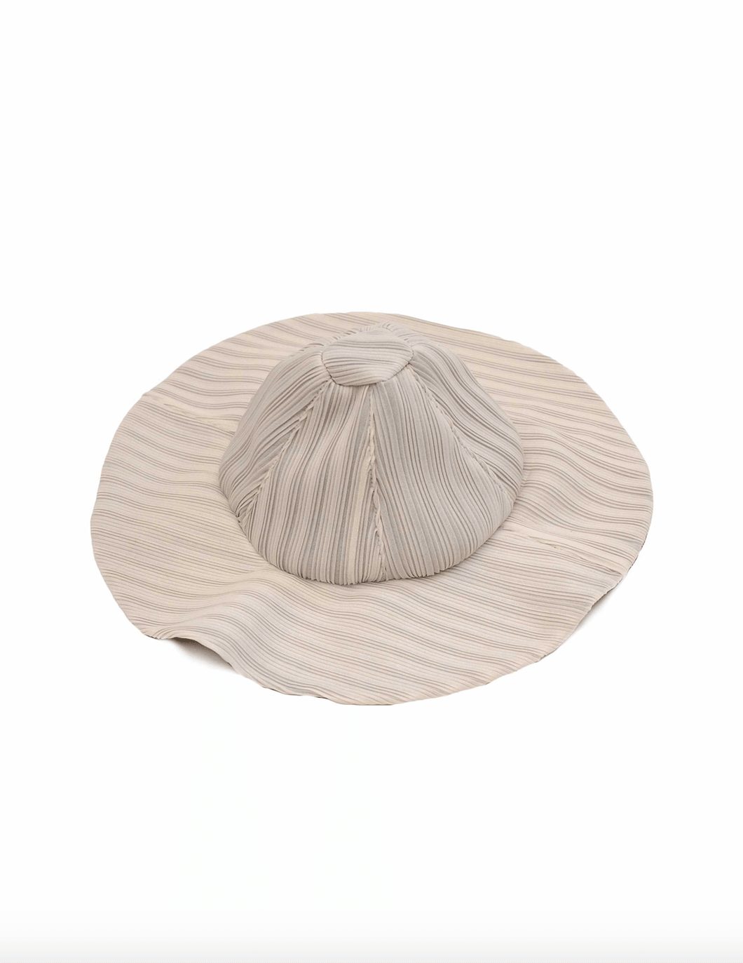 Reworked Pleated Bucket Hat - White