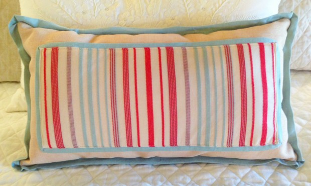 RED AND BLUE STRIPED LUMBAR PILLOW