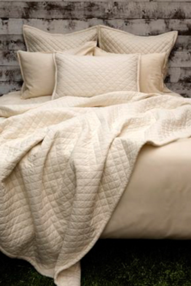 Diamond Quilted Shams in Ivory