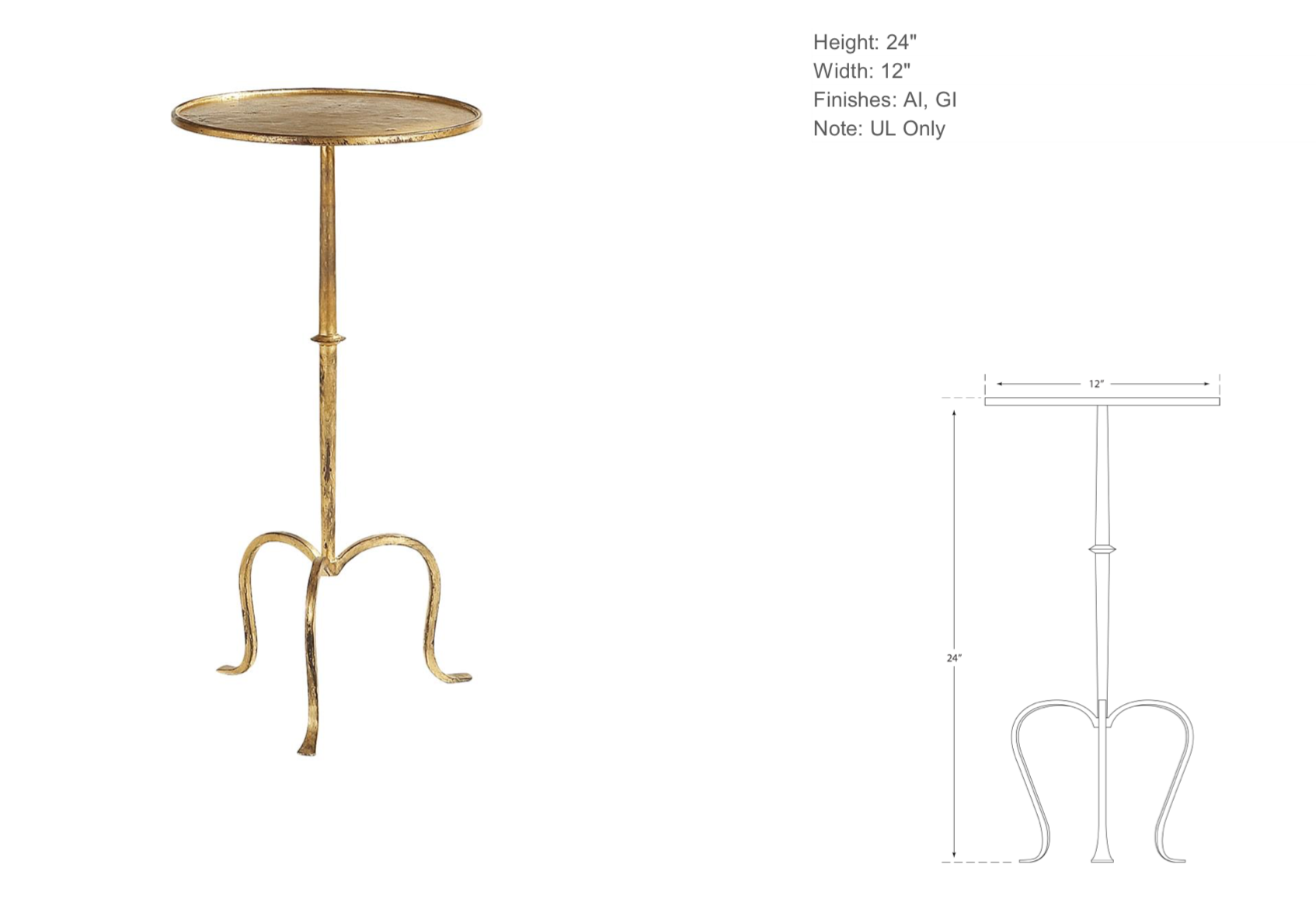 Gilded Iron Side Table