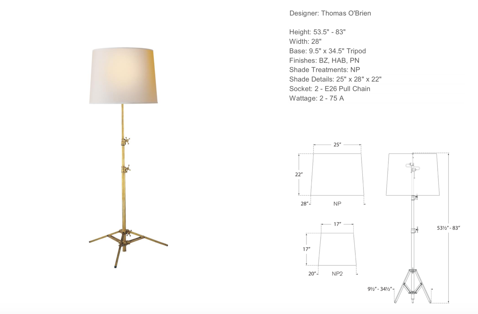 Tripod Floor Lamp In Hand-Rubbed Antique Brass