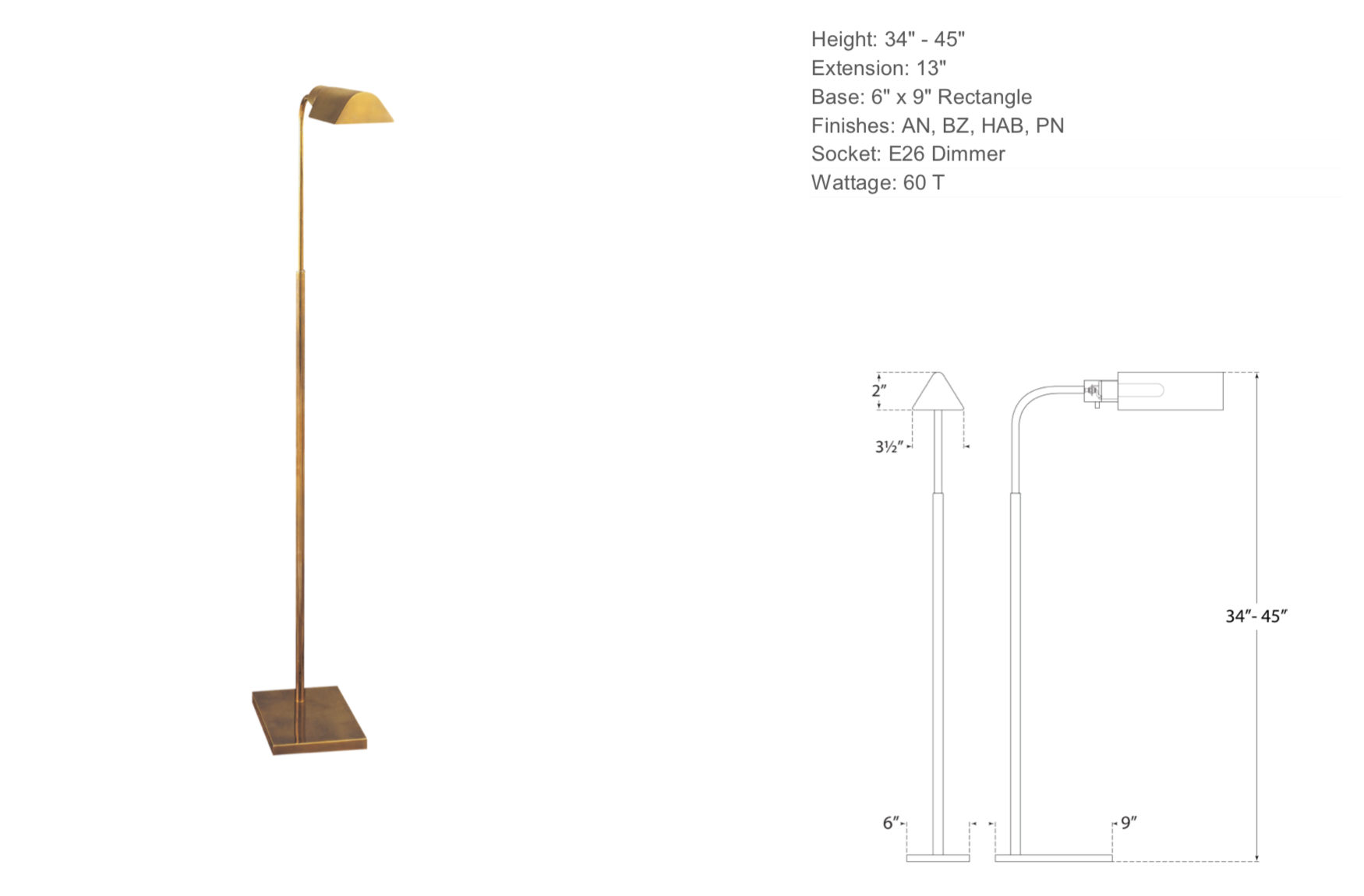 Adjustable Floor Lamp in Hand-Rubbed Antique Brass