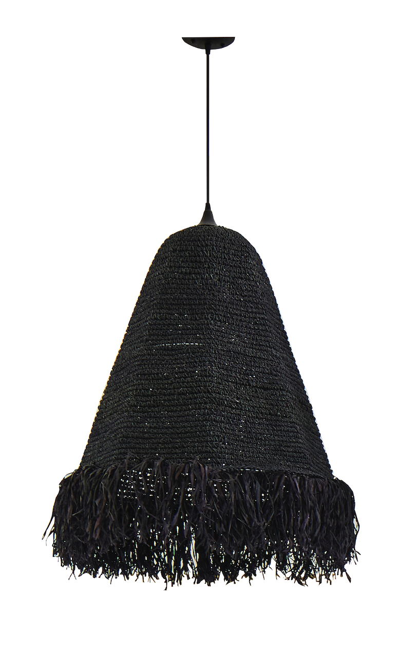 Woven Shade with Raffia Fringe in Black