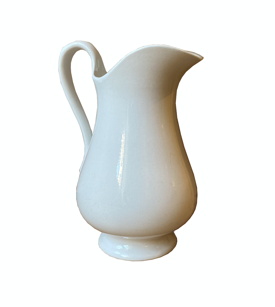 Antique White Ceramic Pitcher