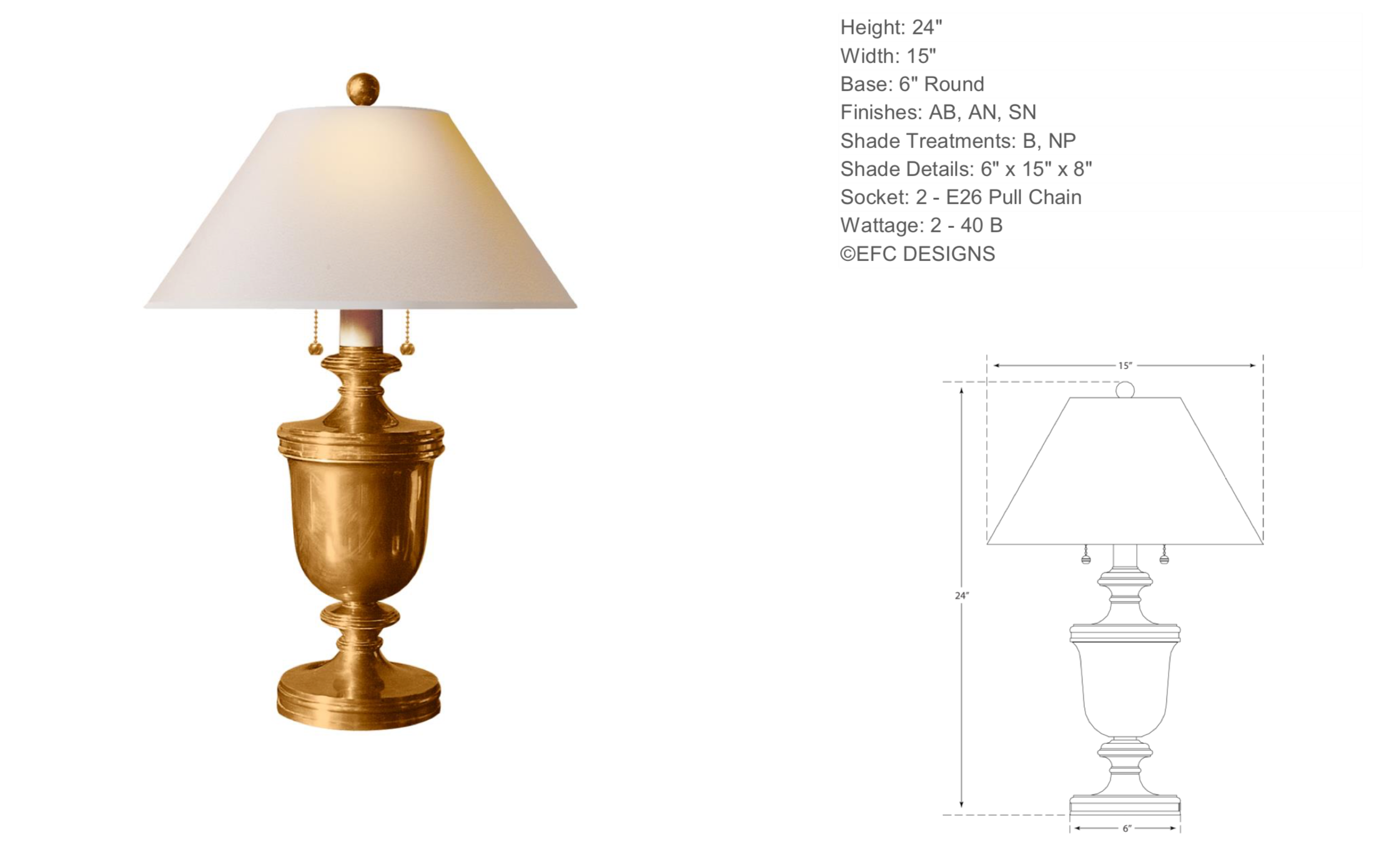 Urn Table Lamp in Antique Burnished Brass