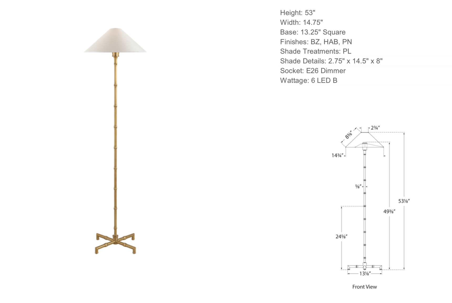 Floor Lamp with Bamboo Detail in Antique Brass