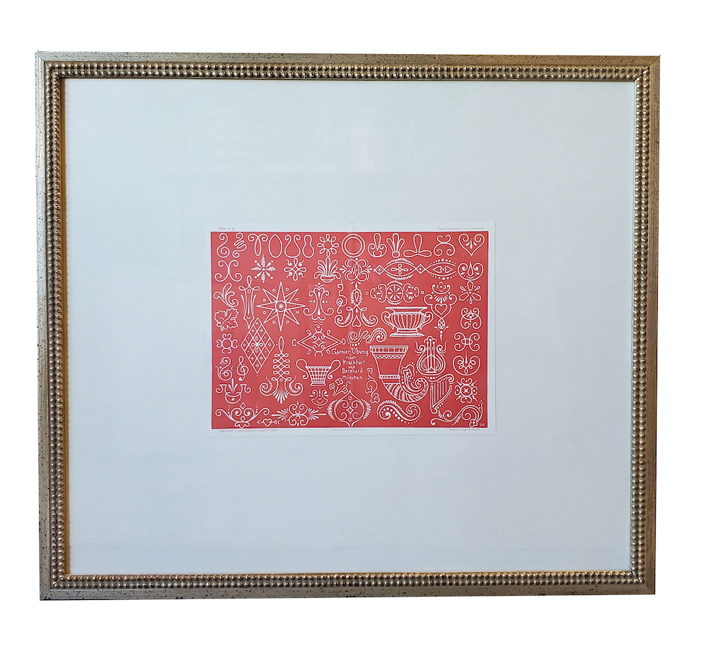 Framed Vintage Print in Coral