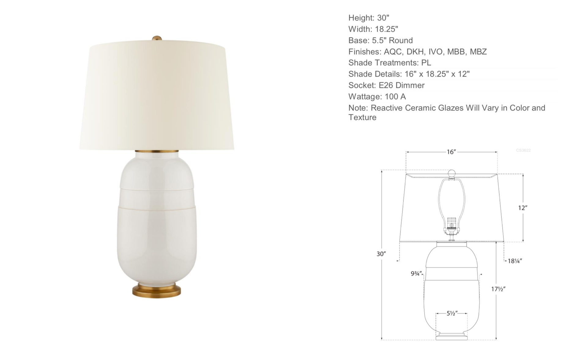 Ceramic Table Lamp in Ivory