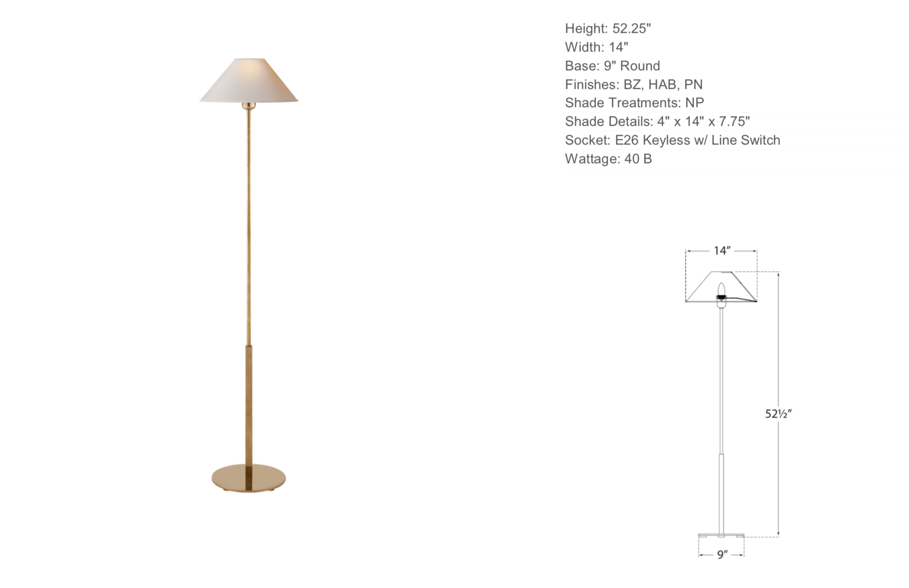 Floor Lamp in Antique Brass