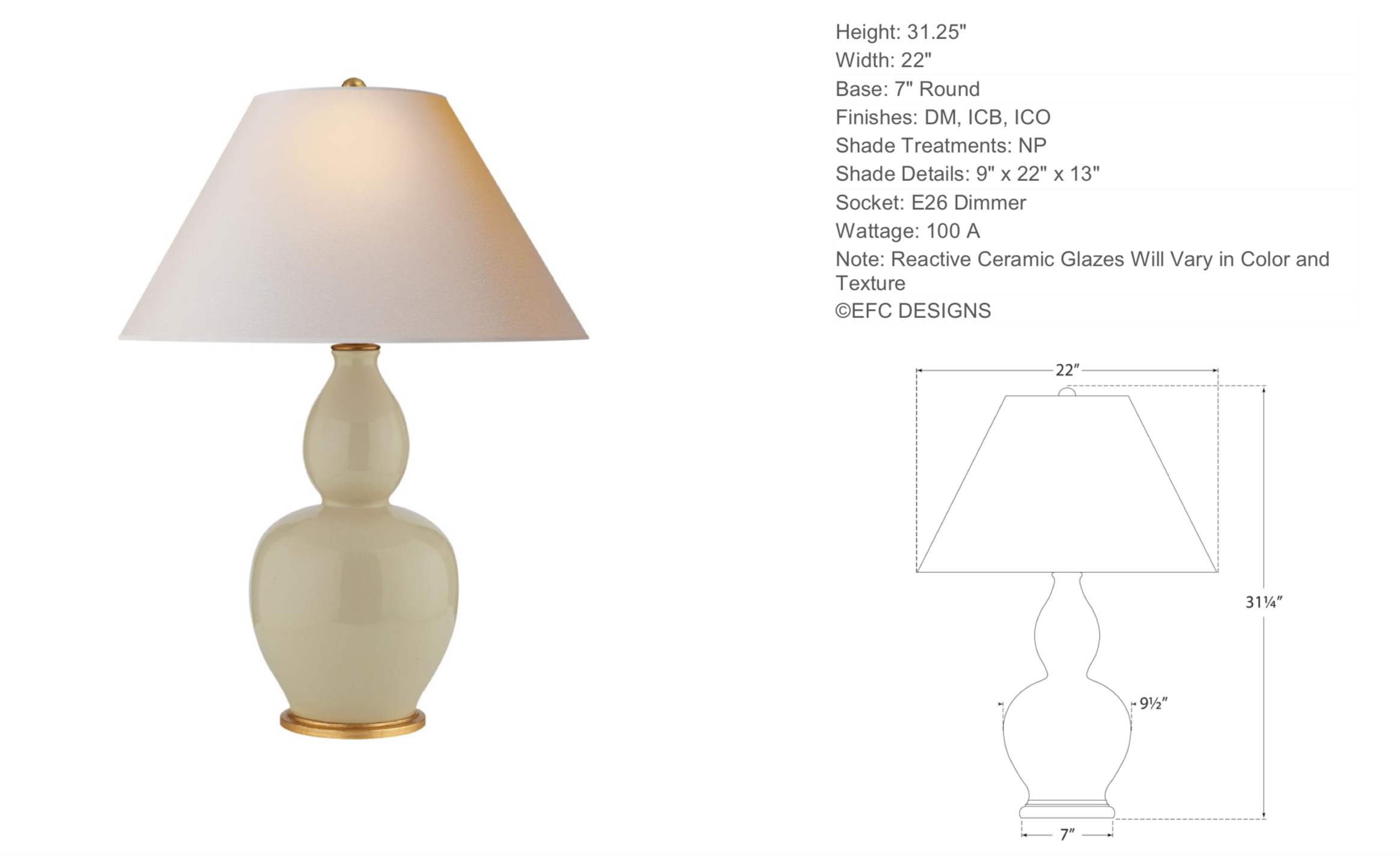 Double Gourd Table Lamp in Coconut