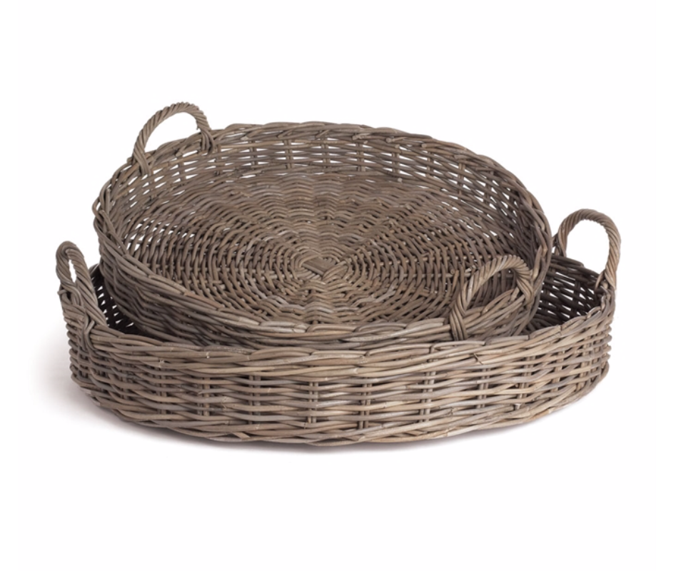 Round Rattan Basket in Grey