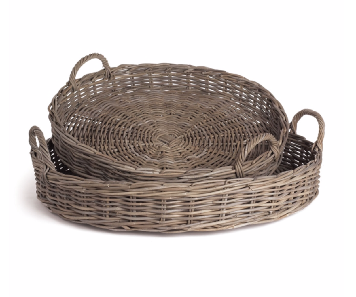 Round Rattan Basket in Grey, Extra-Large