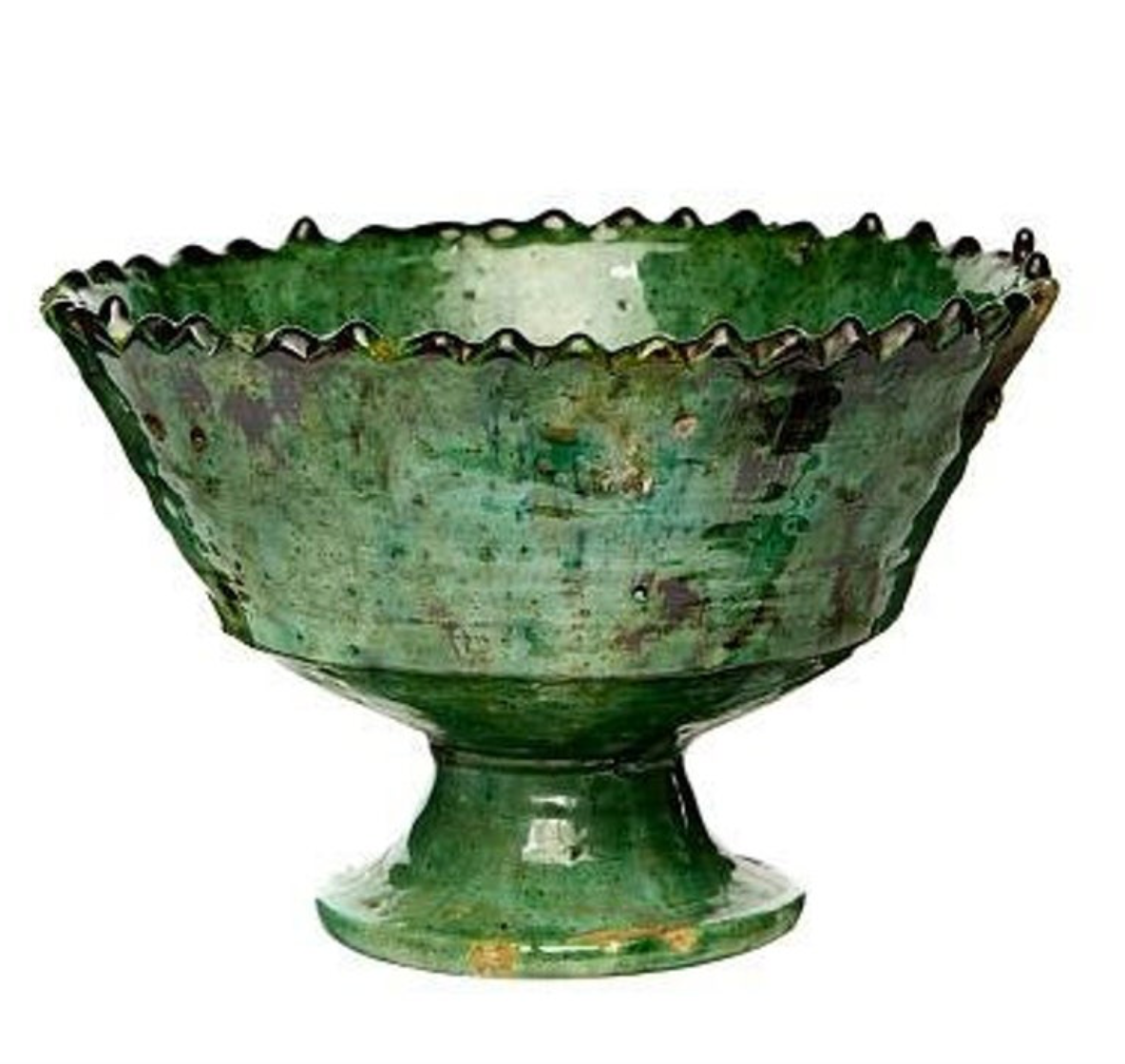 Handmade Moroccan Raised Bowl in Green
