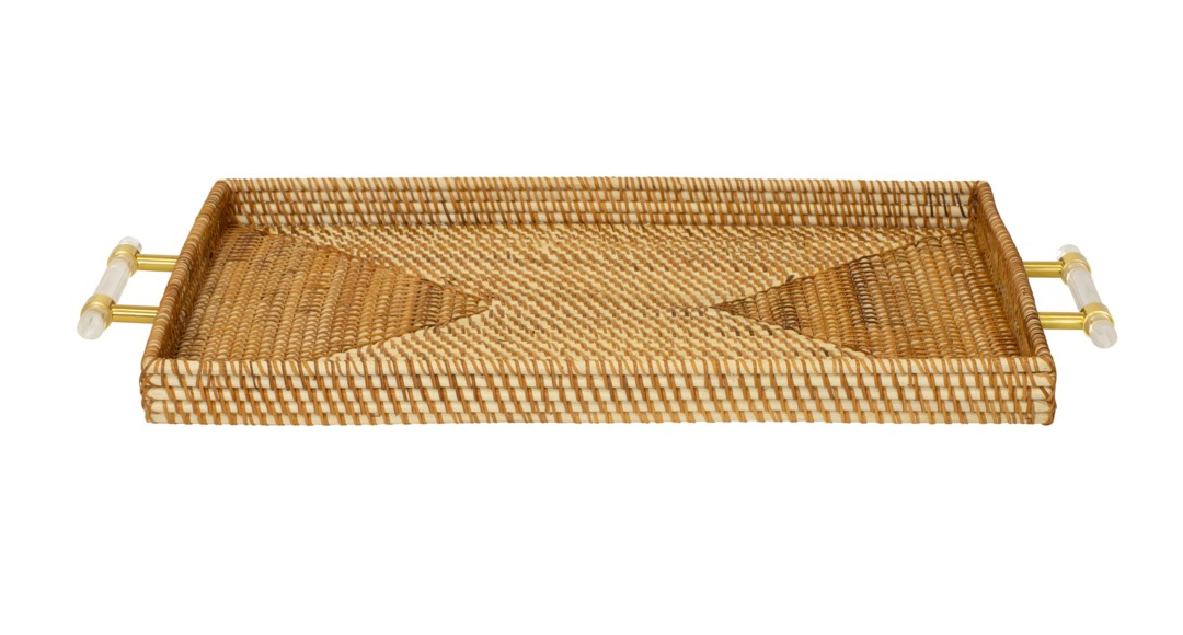 Natural Rattan Tray with Lucite Handles