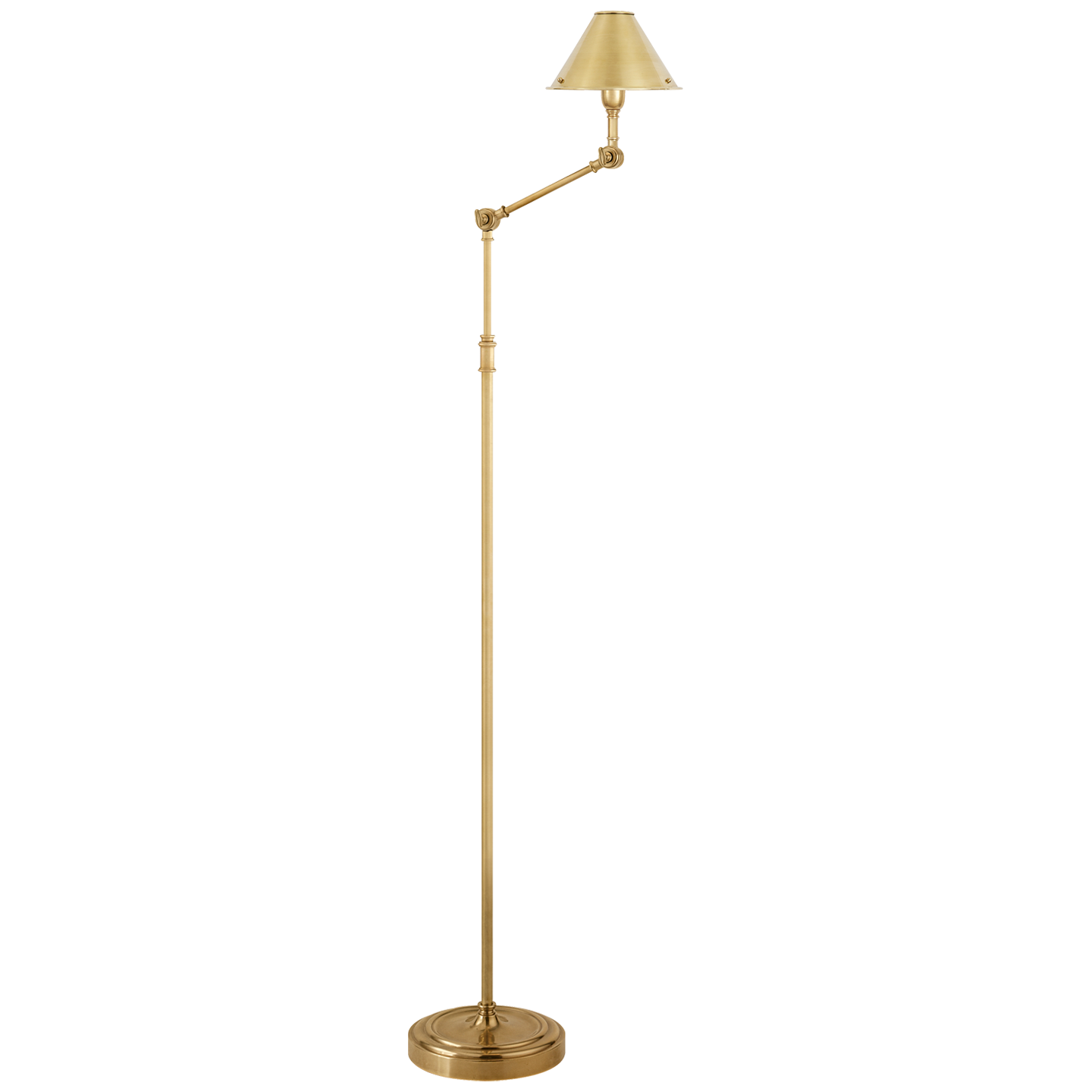 Library Floor Lamp in Natural Brass