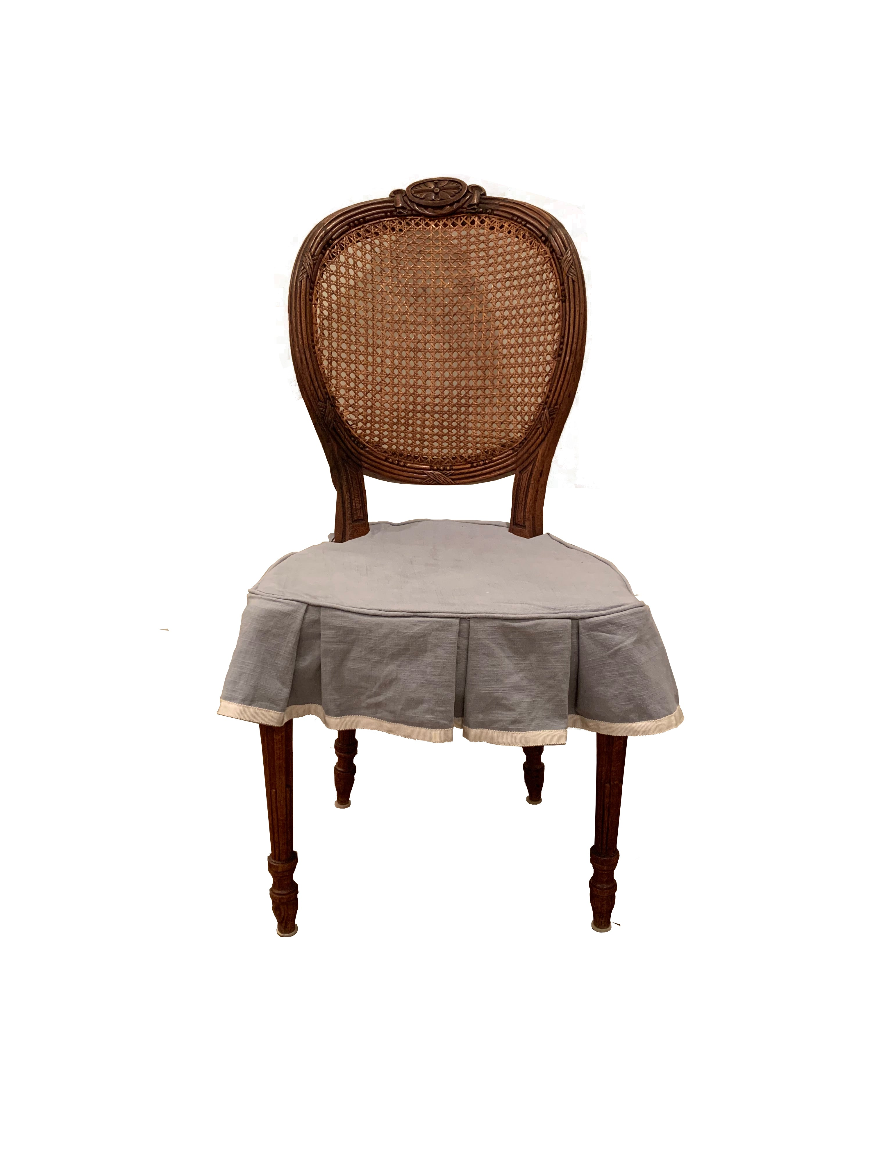 Antique Dining Chairs with Custom Skirts