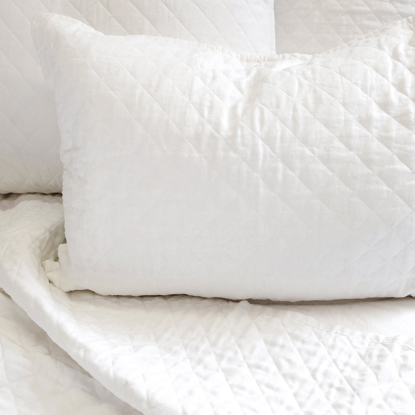 White Diamond Quilted Shams
