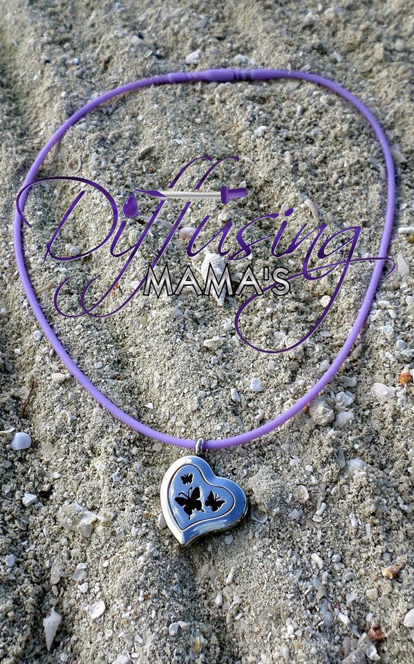 Heart Silver Butterflies (22mm) Aromatherapy / Essential Oils Diffuser Locket Necklace