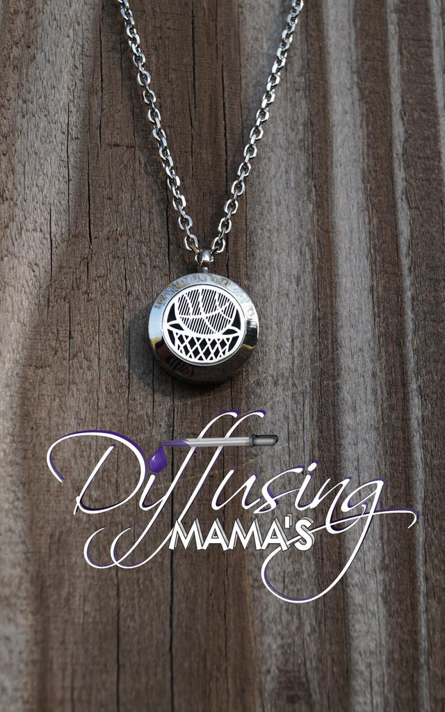 Round Silver Basketball (20mm) Aromatherapy / Essential Oils Diffuser Locket Necklace