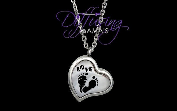 Heart Silver Baby Love (30mm) Aromatherapy / Essential Oils Diffuser Locket Necklace