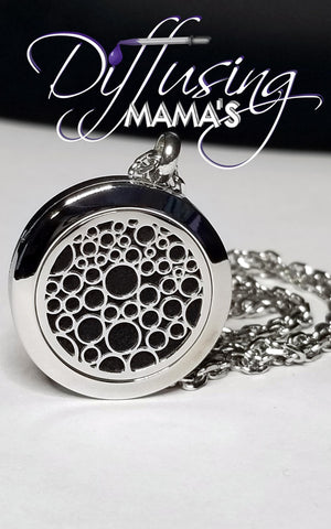 Round Silver Droplets (25mm) Aromatherapy / Essential Oils Diffuser Locket Necklace