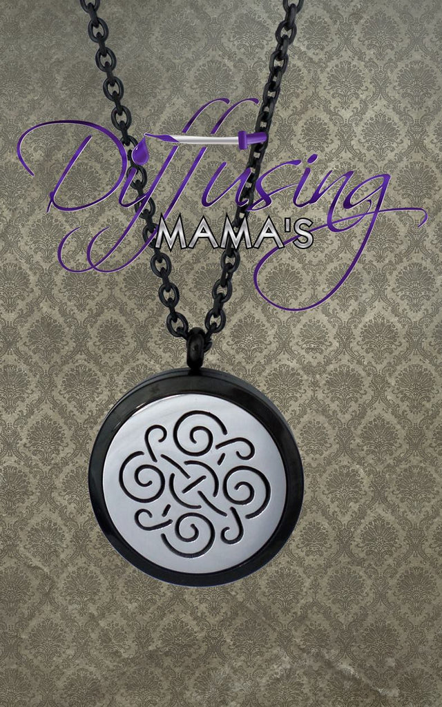 Round 2-Toned Black & Silver Celtic Design (30mm) Aromatherapy / Essential Oils Diffuser Locket Necklace