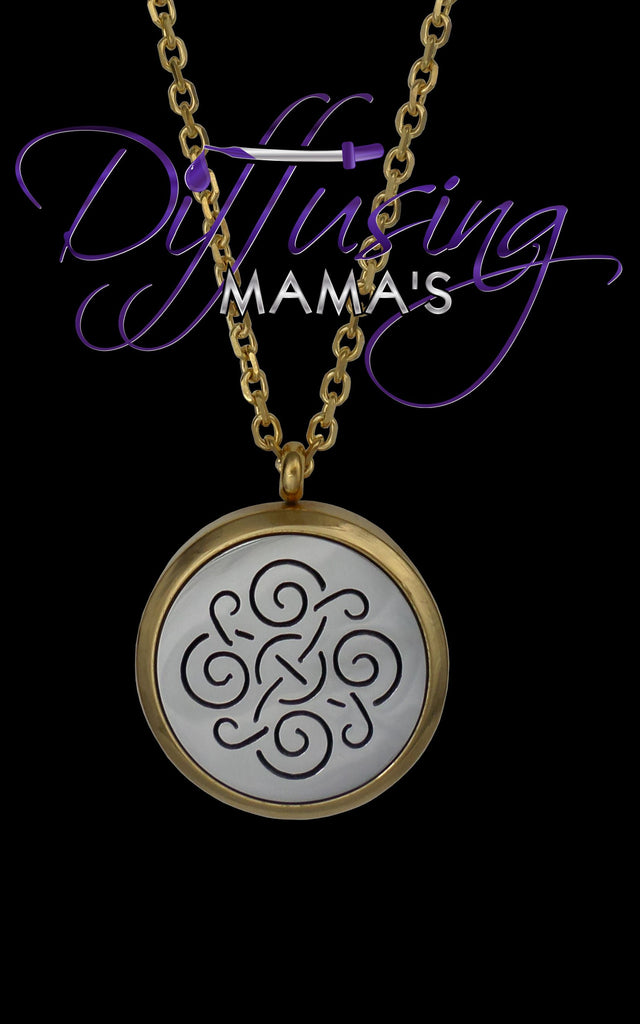 Round 2-Toned Gold & Silver Celtic Design (30mm) Aromatherapy / Essential Oils Diffuser Locket Necklace
