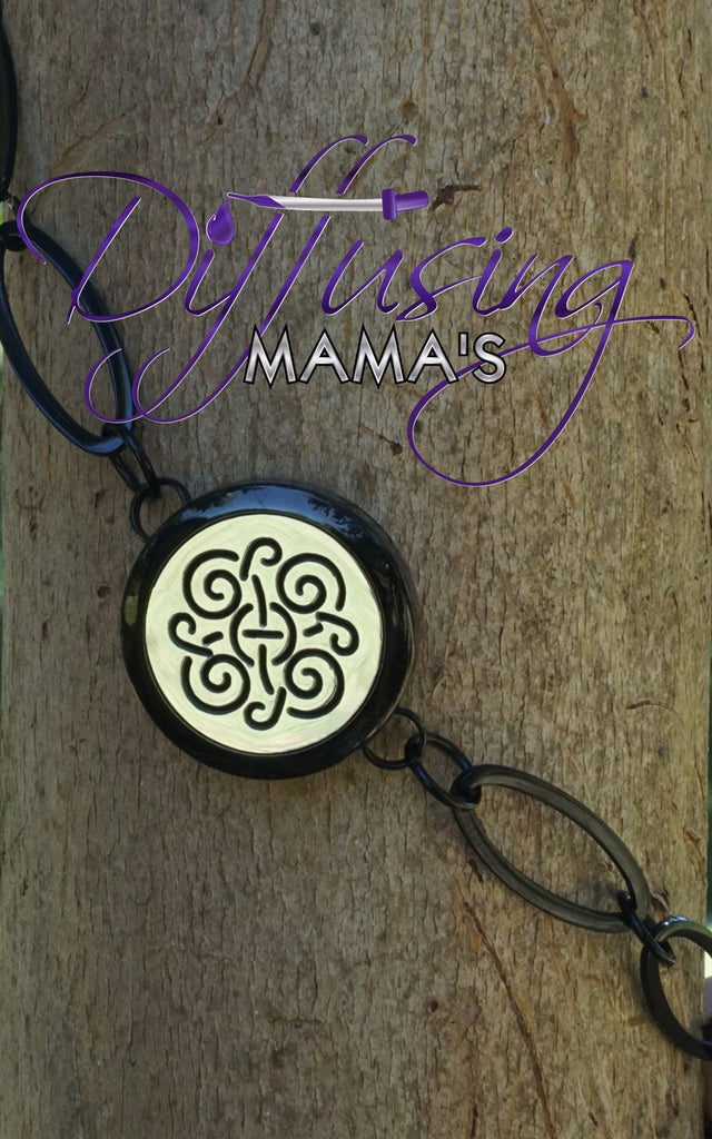 Round 2-Toned Black & Silver Celtic (25mm) with Oval Band Aromatherapy / Essential Oils Diffuser Locket Bracelet
