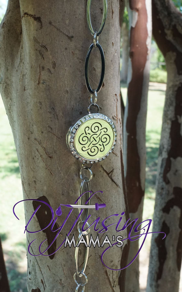 Round Silver Celtic (25mm) with Crystals Oval Band Aromatherapy / Essential Oils Diffuser Locket Bracelet