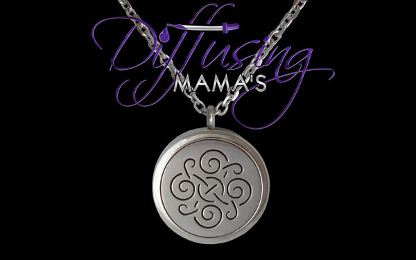 Round Silver Celtic Design (30mm) Aromatherapy / Essential Oils Diffuser Locket Necklace