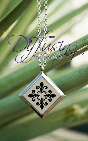 Diamond Silver Fleur-de-Lis (30mm) Aromatherapy / Essential Oils Diffuser Locket Necklace