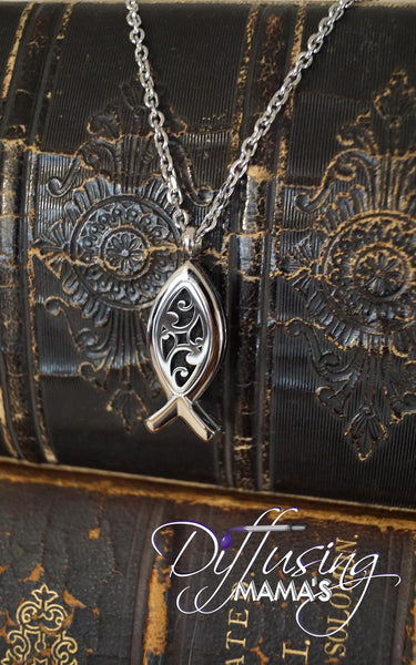Ichthys Fish Silver Flourish (15x34mm) Aromatherapy / Essential Oils Diffuser Locket Necklace