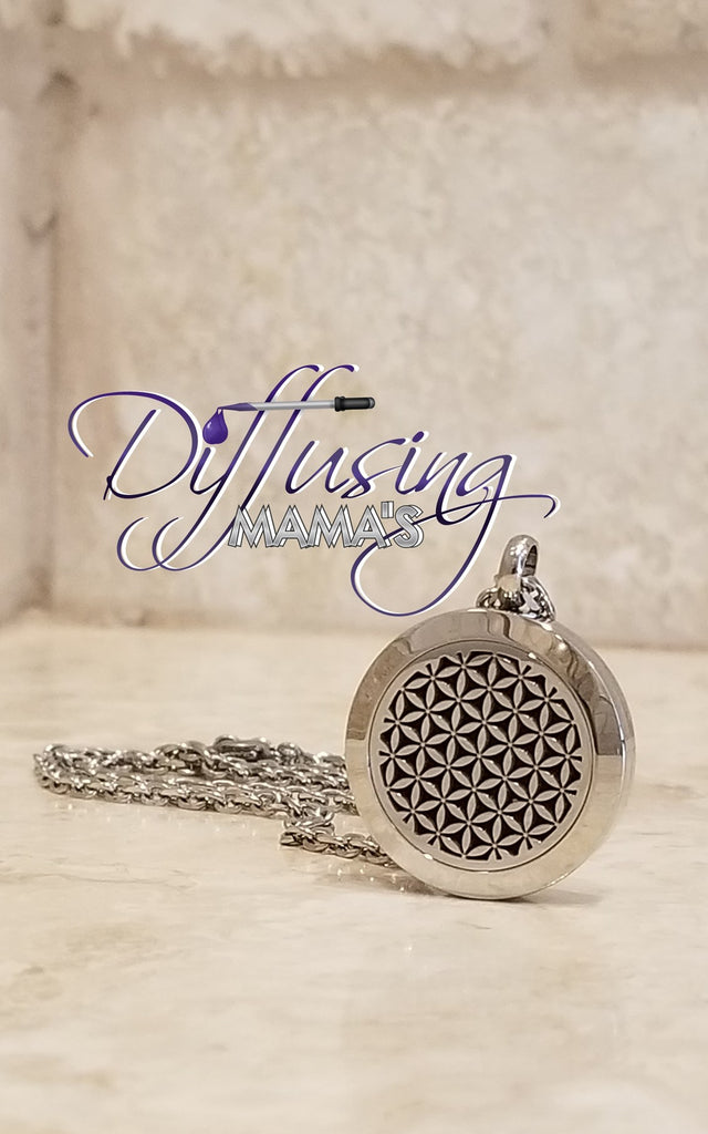 Round Silver Flower of Life (25mm) Aromatherapy / Essential Oils Diffuser Locket Necklace
