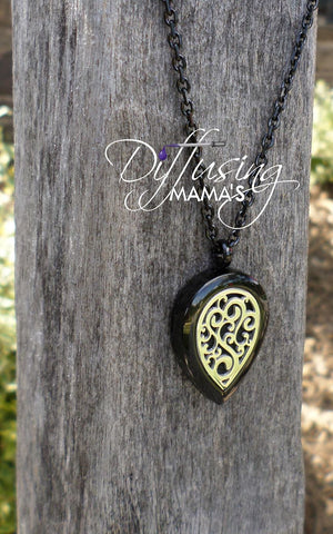 Black & Silver Flourish Aromatherapy / Essential Oils Diffuser Locket Necklace