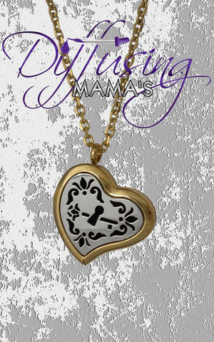 Heart 2-Toned Gold & Silver Key to My Heart (30mm) Aromatherapy / Essential Oils Diffuser Locket Necklace