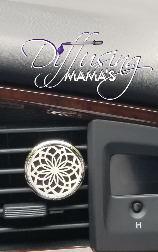 Round Silver Lotus Flower (34mm) Aromatherapy / Essential Oils Car Diffuser