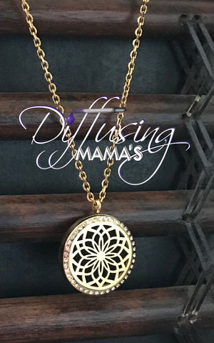 Round Gold Toned Lotus Flower (30mm) with Crystals Aromatherapy / Essential Oils Diffuser Locket Necklace