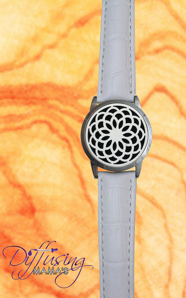 Round Silver Lotus Flower (34mm) with Watch Band Aromatherapy / Essential Oils Diffuser Locket Bracelet
