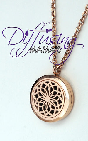 Round Rose Gold Lotus Flower (25mm) Aromatherapy / Essential Oils Diffuser Locket Necklace
