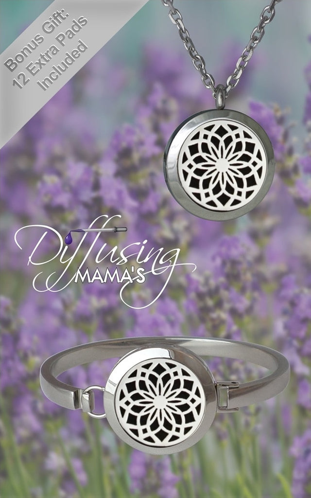 Silver New Lotus Flower Design (25mm) Aromatherapy / Essential Oils Diffuser Locket Necklace & Bracelet Bundle