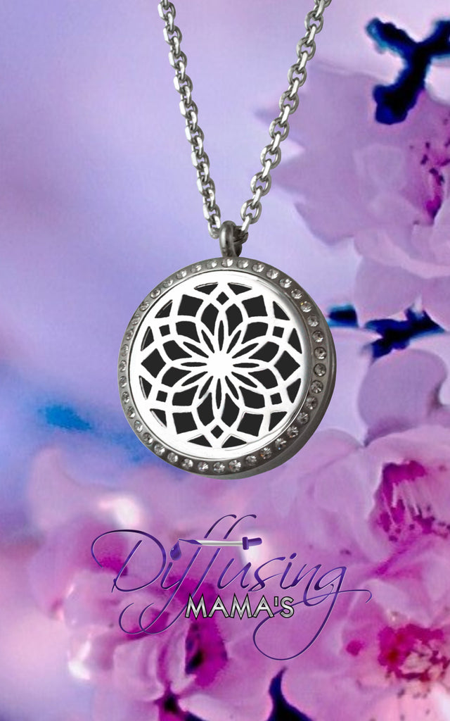 Round Silver New Lotus Flower with Crystals (30mm) Aromatherapy / Essential Oils Diffuser Locket Necklace