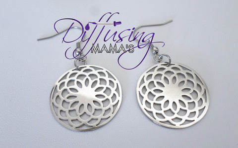 Round Silver Lotus Flower Non-Diffusing Earrings
