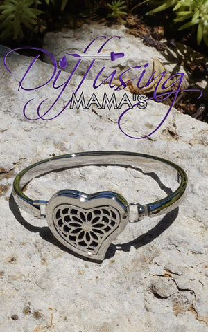 Heart Silver Lotus Flower (30mm) Aromatherapy / Essential Oils Diffuser Locket Bangle Bracelet