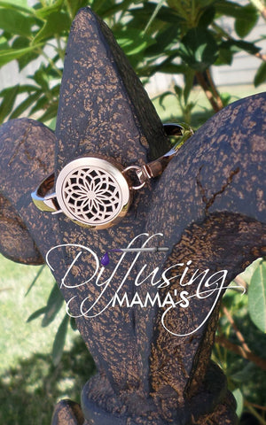 Round Rose Gold New Lotus Flower (25mm) Aromatherapy / Essential Oils Diffuser Locket Bangle Bracelet