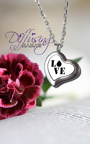 Heart Silver Love (22mm) Aromatherapy / Essential Oils Diffuser Locket Necklace
