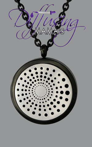 Round 2-Toned Black & Silver Spiral (30mm) Aromatherapy / Essential Oils Diffuser Locket Necklace