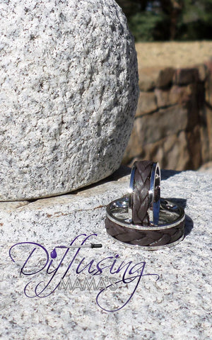 Stainless Steel with Genuine Leather Essential Oils / Aromatherapy Rings