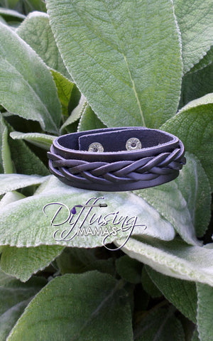 Black Single Braided Genuine Leather Essential Oils / Aromatherapy Bracelets