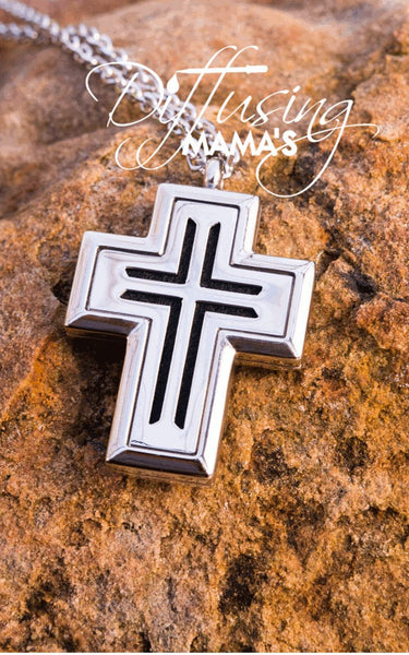 Cross Silver Lined Cross (30x38mm) Aromatherapy / Essential Oils Diffuser Locket Necklace